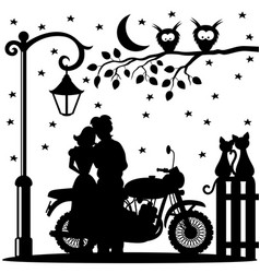 romantic couple and motorcycle vector image