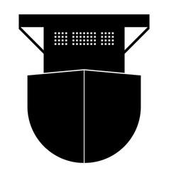 Seagoing cargo ship the black color icon vector