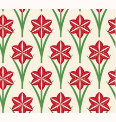 Seamless pattern christmas amaryllis vector
