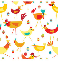 seamless pattern of colorful chickens with eggs vector image