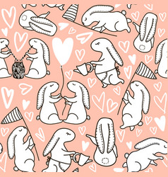 Seamless pattern with cute hand drawn vector