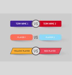 set game versus screen fight backgrounds vector image