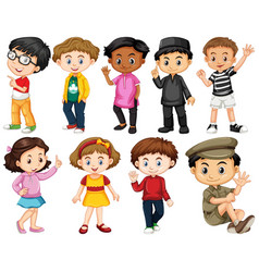 set happy children greeting vector image