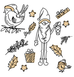 set of christmas signs drawn in doodle vector image