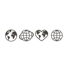set of earth globe icons in linear design on a vector image