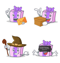 Set of gift character with envelope box witch vector
