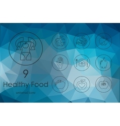 Set of healthy food icons vector