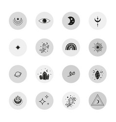 Social media round icons in bohemian style vector
