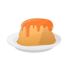 Stack of pancakes with honey icon cartoon style vector image
