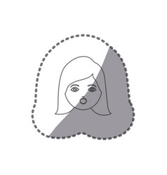 Sticker silhouette cartoon human female face vector