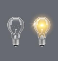 Turn on bulb light realistic transparent bulb vector