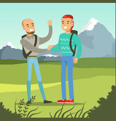 Two smiling best male friends meeting on a nature vector