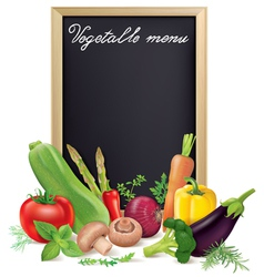 Vegetable menu board and vegetables vector image