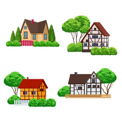 village houses with front garden vector image