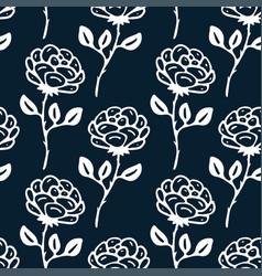 vintage little roses on dark background floral vector image