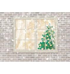 Winter window christmas vector
