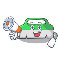 With megaphone scrub brush character cartoon vector