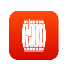 Wooden barrel with ladle icon digital red vector