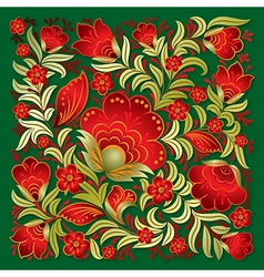 abstract red floral ornament on a green background vector image