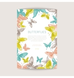 Greeting card with geometric butterflies vector image vector image