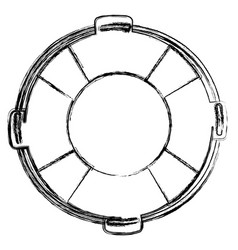 monochrome sketch of flotation hoop with rope vector image