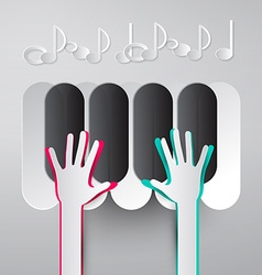 Paper Hands Playing Piano Keyboards with Notes vector image vector image