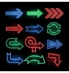 Retro neon direction arrow signs icons vector image vector image