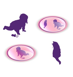 silhouettes of child with cat vector image vector image