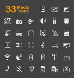 33 media icons vector image