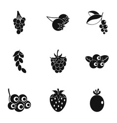 berries icon set simple style vector image vector image