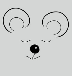 mouse sleep cute funny cartoon head vector image vector image