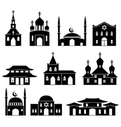 Church building black icons set vector image vector image