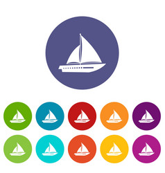 sailing yacht set icons vector image vector image