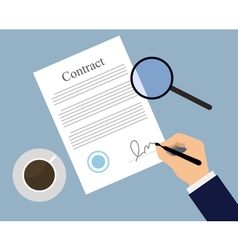 Signing contract on the table vector image vector image