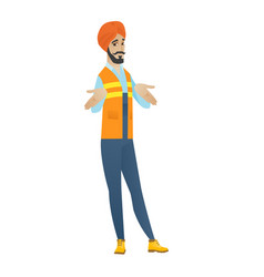 confused hindu builder shrugging shoulders vector image