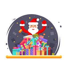 happy santa claus shopping pile goods christmas vector image