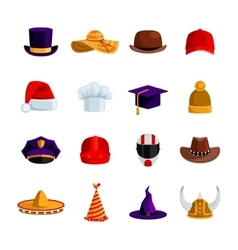 Hats And Caps Flat Color Icons vector image vector image