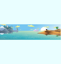 panorama - the ship from the arab coast vector image vector image