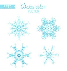 set of watercolor snowflakes vector image