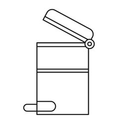 Steel trashcan icon outline style vector