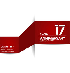 17 years anniversary design with red and white vector