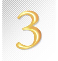 3d matt golden number collection - three 3 vector image