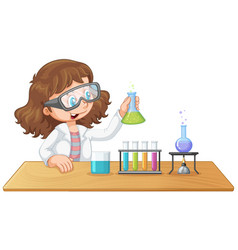 a laboratory girl experiment vector image