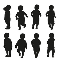 action kids silhouette vector image