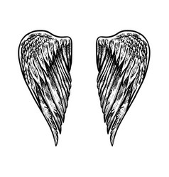 Angel wing in vintage style template for tattoo vector