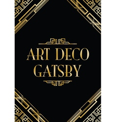 art deco gatsby wedding invite vector image