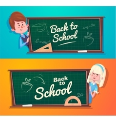Back to school Cute schoolchild near blackboard vector