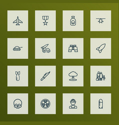 Battle icons line style set with rocket cranium vector