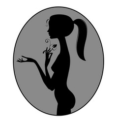 black silhouette of fine naked girl standing in vector image