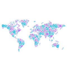 blue and violet concept world map vector image